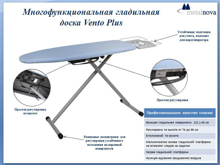 Многофункциональная гладильная доска Metalnova Vento Plus